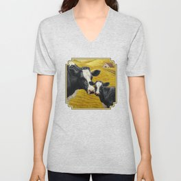 Holstein Cow and Cute Calf Unisex V-Neck