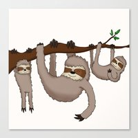 sloths Canvas Prints featuring Cute Illustrated Sloths  by Philly & Brit