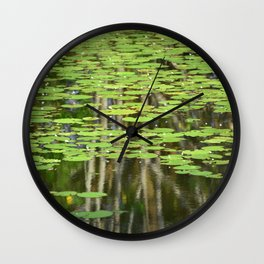 Lily Pond Reflections Wall Clock
