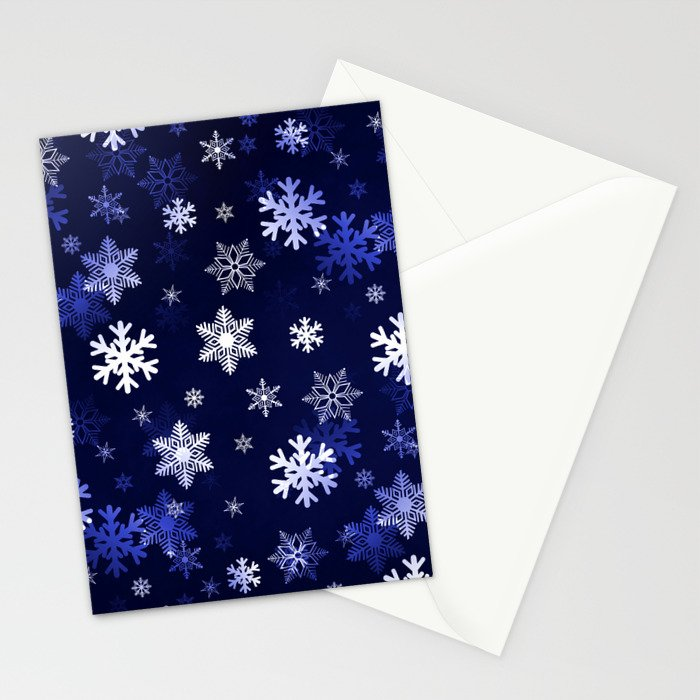 Dark Blue Snowflakes Stationery Cards