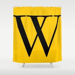 Serif W. Black on Yellow. Shower Curtain