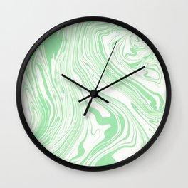 Pastel green & White marble Swirls Wall Clock