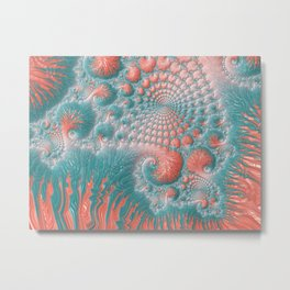 Abstract Coral Reef Living Coral Pastel Teal Blue Texture Spiral Swirl Pattern Fractal Fine Art Metal Print