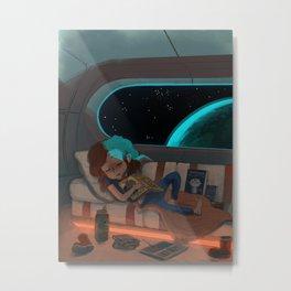 Nap in Space Metal Print