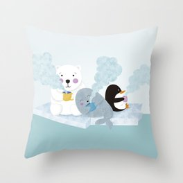 polar coffe Throw Pillow