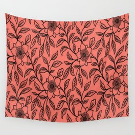 Vintage Lace Floral Peach Echo Wall Tapestry