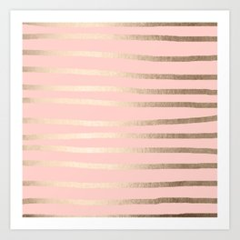 Abstract Drawn Stripes Gold Coral Light Pink Art Print