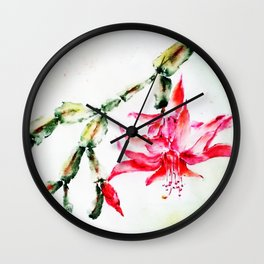 Winter Cactus-Schlumbergera Wall Clock