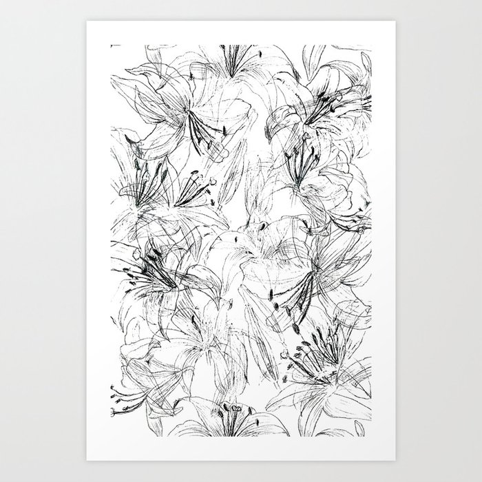 lily sketch black and white pattern Art Print