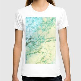Abstract modern teal brown marble tree pattern T-shirt