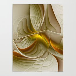 Abstract With Colors Of Precious Metals, Fractal Art Poster