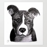 pit bull Art Prints featuring Pit Bull Dogs Lovers by Gooberella