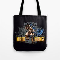 vikings Tote Bags featuring Nordic Vikings by TsHirtZmaNia