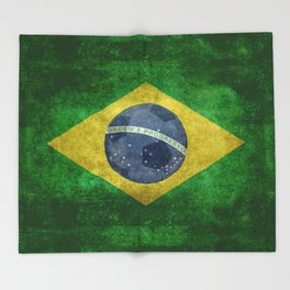 Flag of Brazil with football (soccer ball) retro style Throw Blanket