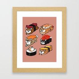 Sushi Shiba Inu Framed Art Print