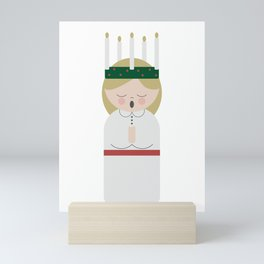 Cartoon girl with candles at Saint Lucy at Christmas Mini Art Print