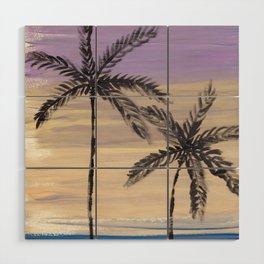 two palm trees euphoric sky Wood Wall Art