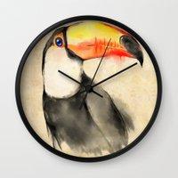 toucan Wall Clocks featuring Toucan by akaori_art