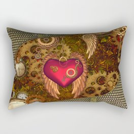 Steampunk, heart with wings Rectangular Pillow