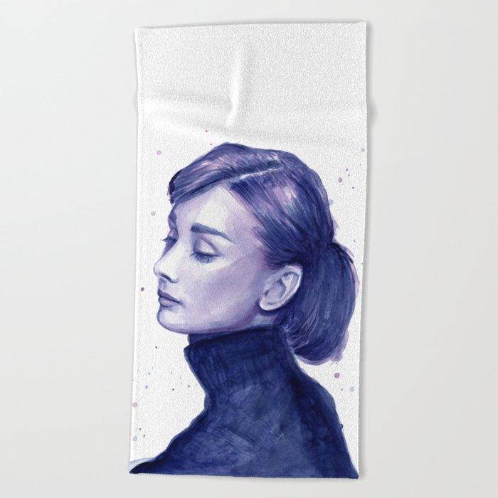 Audrey Hepburn Watercolor Portrait Beach Towel