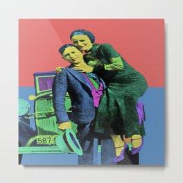Bonnie and Clyde Pop Art Metal Print
