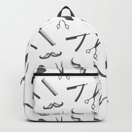 Barbershop pattern shaving razor, brushes and scissors on white Backpack