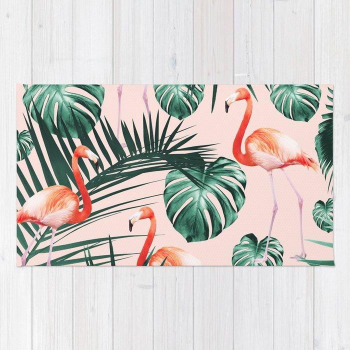 Tropical Flamingo Pattern #2 #tropical #decor #art #society6 Rug