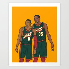 Westbrook and Durant - Retro Jersey Art Print