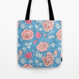 Roses Blue Pink Tote Bag