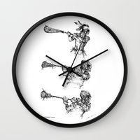 lacrosse Wall Clocks featuring The Perfect Form-Series (The Art of Lax™) by Vincent Ricasio