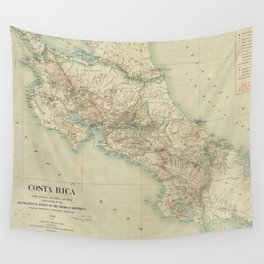 Vintage Map of Costa Rica (1903) Wall Tapestry