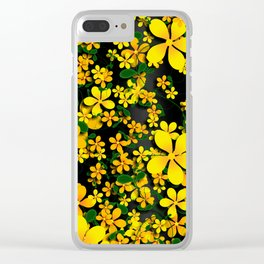 Orange & Yellow Flowers on Black Background Clear iPhone Case