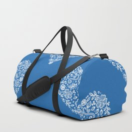 Azure Strong Blue Heart Lace Flowers Duffle Bag