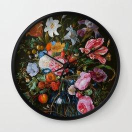 Vase of Flowers II Jan Davidsz de Heem Wall Clock