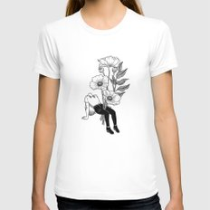 Let me bloom White LARGE Womens Fitted Tee