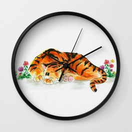 Sleeping tiger watercolor Wall Clock