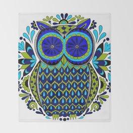 Blue Green Owl Mandala Throw Blanket