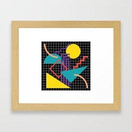 Memphis Pattern - 80s Retro Black Framed Art Print