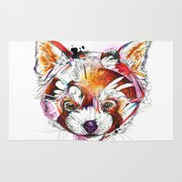 red panda Area & Throw Rugs featuring Red Panda  by Abby Diamond