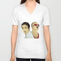 brad pitt V-neck T-shirts featuring Tyler Durden's... Ed Norton and Brad Pitt by Matty723