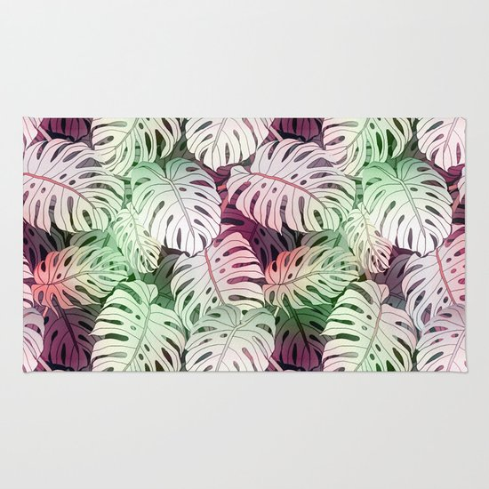 Tropical Coral White Green Watercolor Monster Leaves Rug