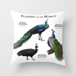 Peafowl of the World Throw Pillow
