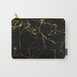 Golden Marble - Black and gold marble pattern, textured design Carry-All Pouch