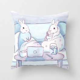 Binge-watching Bunnies Throw Pillow