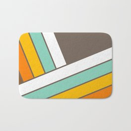Retro 70s Stripes  -  Abstract Geometric Design Bath Mat