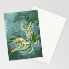 Abstract wattle in blue and green Stationery Cards