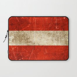 Vintage Aged and Scratched Austrian Flag Laptop Sleeve