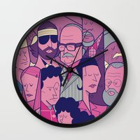 the royal tenenbaums Wall Clocks featuring The Royal Tenenbaums by Ale Giorgini