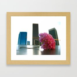 Flower in the LA Skyline Framed Art Print