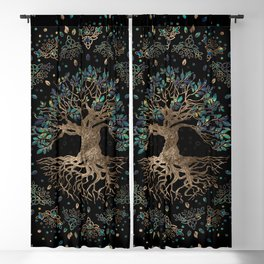 Tree of life -Yggdrasil Golden and Marble ornament Blackout Curtain